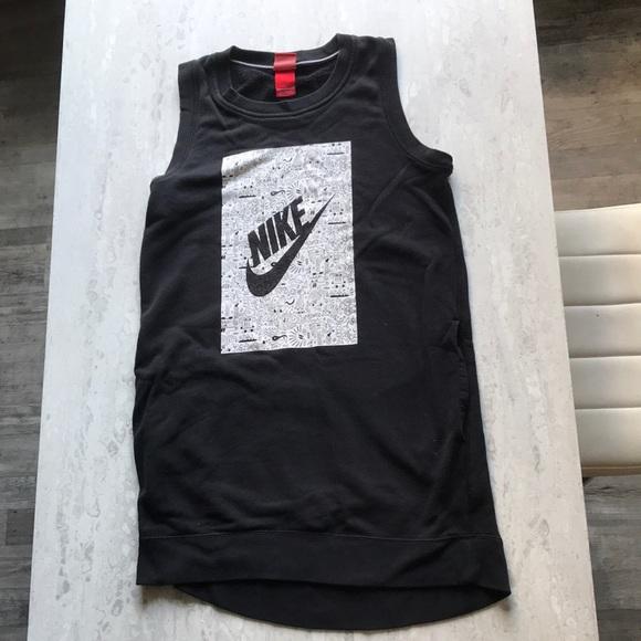 Nike Black Sweatshirt Tank Dress with pockets